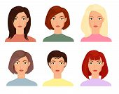 Female Faces Flat Vector Illustrations Set. Blonde, Brunet Women With Short And Long Trendy Haircuts poster