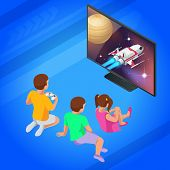 Isometric Girl And Boys Play Video Game On Tv Using Gamepad. Driving Rocket In Video Game. Gaming Ad poster