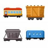 Vector Illustration Of Railway And Carriage Symbol. Set Of Railway And Transport Vector Icon For Sto poster