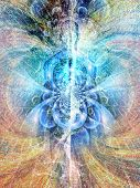 Digitized Soul. Spirit emerges from binary code space. 3D rendering poster