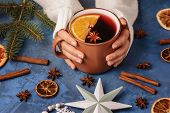 Female Hands Holding Cup With Warming Mulled Wine With Cinnamon Stick, Anise And Sliced Orange Photo poster