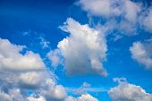 White Cloud On Azure Sky. Sunny Cloudscape Photo Background. Idyllic Skyscape With Fluffy Cloud. Flu poster