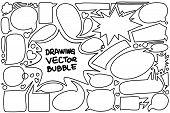Drawing Bubble Speech Doodle Vector Illustration. Custom Black And White Line Art. Good For Insert C poster