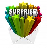 The word Surprise bursts with a bunch of colorful stars out of an open envelope to announce an unpre