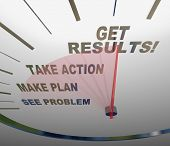 A speedometer with needle moving past the words See Problem, Make Plan, Take Action and Get Results