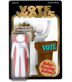 A candidate for election is packaged and sold as an action figure to promote his political campaign and quest for government office