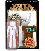 Un candidato a las elecciones es empaquetado y vendido como una figura de acción para promover su campaña política