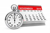 2019 Year November Calendar With Stopwatch On A White Background. 3d Rendering poster