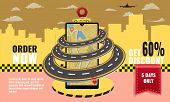 Taxi Concept Infographic Or Mobile App With Road And Taxi Cabs With Driver. Cityscape On Background. poster