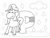 Letter P And Funny Cartoon Unicorn. Animals Alphabet A-z. Coloring Page. Printable Worksheet. Handwr poster