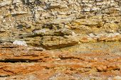 Geological Layers Of Earth - Layered Rock. Close-up Of Sedimentary Rock By Ocean. poster