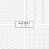 Set Of Four Abstract Geometric Seamless Patterns. Modern Stylish Backgrounds. White And Gray Geometr poster