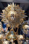 Big Sun Gold And Silver, Big Carnival Mask. Typical Venetian Carnival Masks, Vintage. Masks On Displ poster
