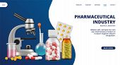 Pharmaceutical Industry Landing Page. Medicine, Research Laboratory Vector Web Banner. Realistic Pil poster
