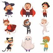 Halloween Costumes. Kids Scary At Party Trick Or Treat Vampire Zombie Witch Vector Characters. Illus poster