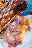 picture of nic  - Fresh cantaloupe melon with italian Parma ham - JPG