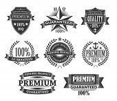 Premium Quality Icons, Product Badges And Guarantee Labels. Vector Monochrome Engraving Signs, Quali poster