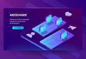3d Isometric Template Of Site For Messenger. Online Chat Business, Development. Social Service On Sm poster