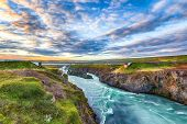 Incredible Landscape Scene Of Skjalfandafljot River Near Godafoss Waterfall. Bridge Over River Skjal poster