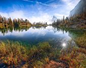 Wonderfull Autumn View Of  Lake Federa In Dolomites . Fantastic Autumn Scene With Colour Sky, Majest poster