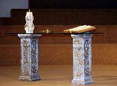 stock photo of unity candle  - modern wedding altar at christian church - JPG
