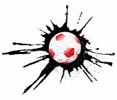 Soccer ball and ink splash