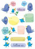 Blue Birds With Color Bubbles
