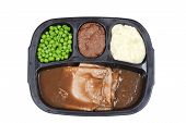 Top view roast beef tv dinner