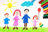 Kiddie Style Crayon Drawing Of A Happy Family