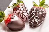 picture of dessert plate  - Fancy chocolate covered strawberries on a plate - JPG