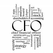 Cfo Word Cloud Concept In Black And White