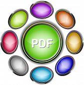 Pdf. Internet icons. Raster illustration.