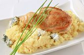roasted chicken breast with cuscus and blue cheese