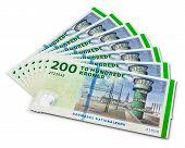 Stack of 200 Danish krone banknotes