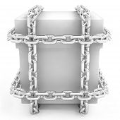 secret drawer in a steel chain on white