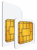image of micro-sim  - Regular and mini SIM cards for use in mobile communications - JPG