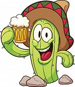 Cartoon mexican cactus holding a beer. Vector clip art illustration with simple gradients. All in a single layer.