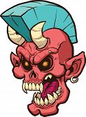 Screaming punk demon head. Vector clip art illustration. All in a single layer.