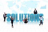 Soluciones globales de negocio en azul