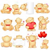 pic of teddy  - illustration of teddy bear in different pose for love background - JPG