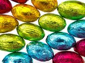 Close Up Of Easter Eggs In Foil For Background