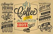 Coffee-Shop-Etiketten mit retro Vintage Stil Design.