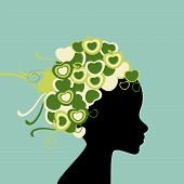 Woman silhouette with fruit hair
