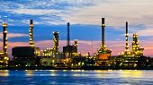Petroleum Oil Refinery Factory Over Sunrise
