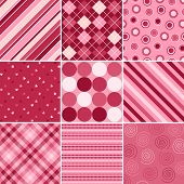 image of dot pattern  - A set of nine background patterns for Valentines day - JPG