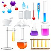 pic of reagent  - vector illustration of Laboratory glassware with colorful liquid - JPG