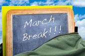 stock photo of easter_break  - march break written in a blackboard in a school bag with books - JPG