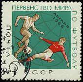 Ussr - Circa 1966: A Stamp Printed In Ussr Showing Football Players, Circa 1966