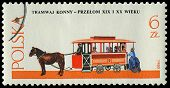 Poland - Circa 1980: A Stamp Printed In Poland, Show  Antique Horse Tram And A Coachman, Circa 1980