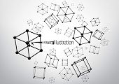 Composition of wire-frame elements in the form of cube with vertices in different perspective